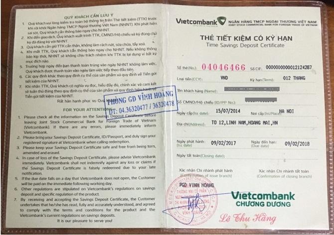 Thẻ tiết kiệm có kỳ hạn Vietcombank