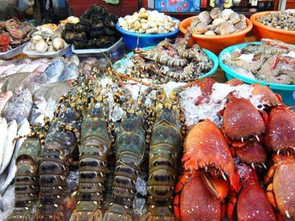 Hải sản mặt hàng bày bán khắp chợ đêm Bạch Đằng